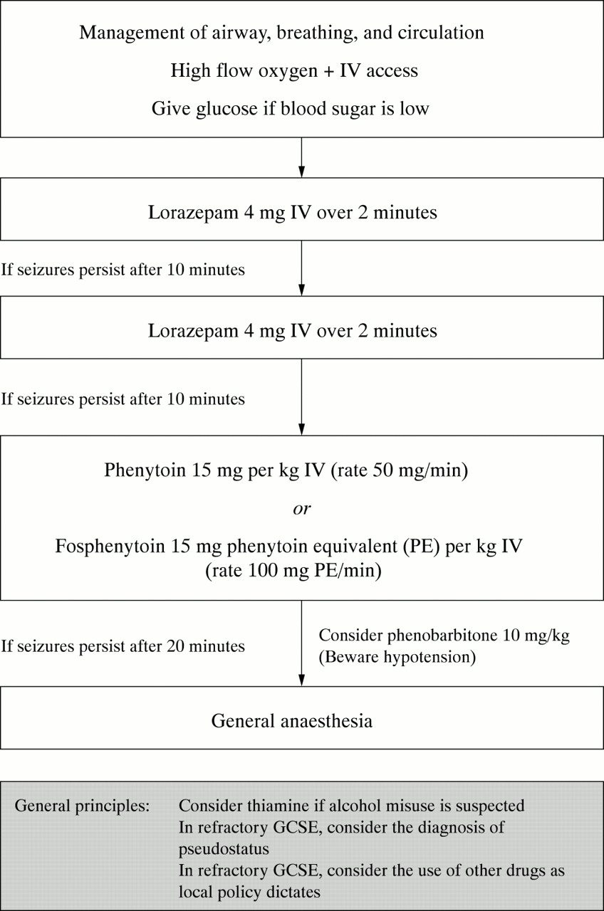Emergency department drug therapy for status epilepticus in adults